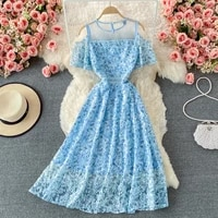 banulin 2021 summer fashion runway elegant party dress women cold off shoulder lace mesh flowers embroidery midi dress n66503