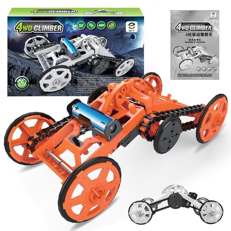 Electric Cross Country Climbing Car Creative Science Assembly Four Wheel Drive Space Vehicle Cross Border Disassembly Toy Car cross border reproductive care cbrc