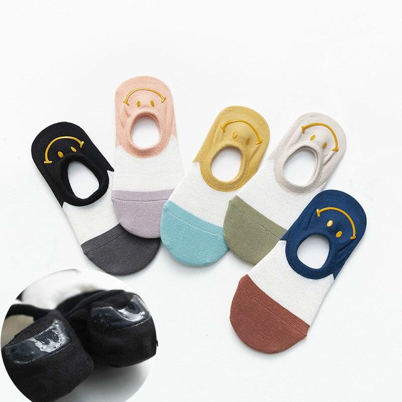 Calcetines japoneses Kawaii con estampado de silicona con forma de sonrisa Invisible medias divertidas para mujer Popsocket 31401