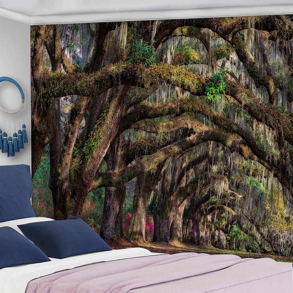 Tapicería de árboles Natural antigua estampado con bosque tapiz de pared Hippie colgante de pared tapices de pared bohemios Mandala Arte de la pared Decoración