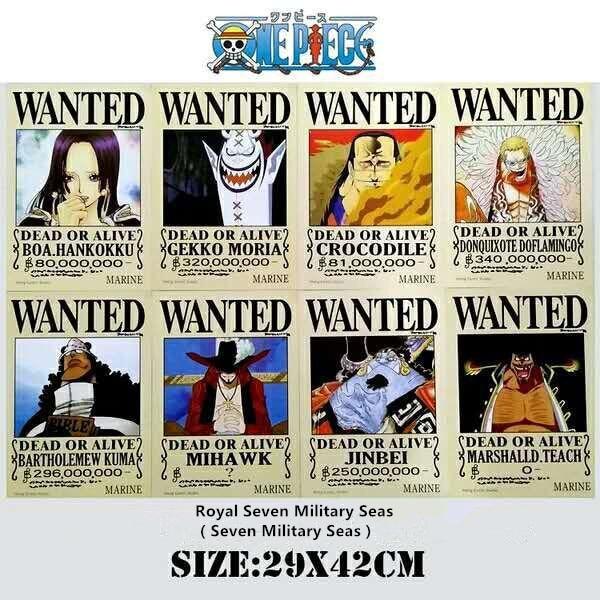 8 unids/set de carteles de una sola pieza A3 póster WANTE muerto o vivo Royal Seven Military Seas 42*29cm HANKOKKU MORIA JINBEI Toys