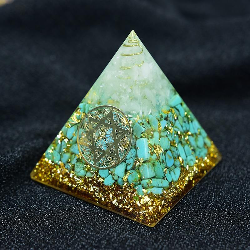 Orgonite Pyramid Anahata Chakra Sandalphon Life Potential Natural Turquoise Resin Pyramid Crafts Decoration C0173
