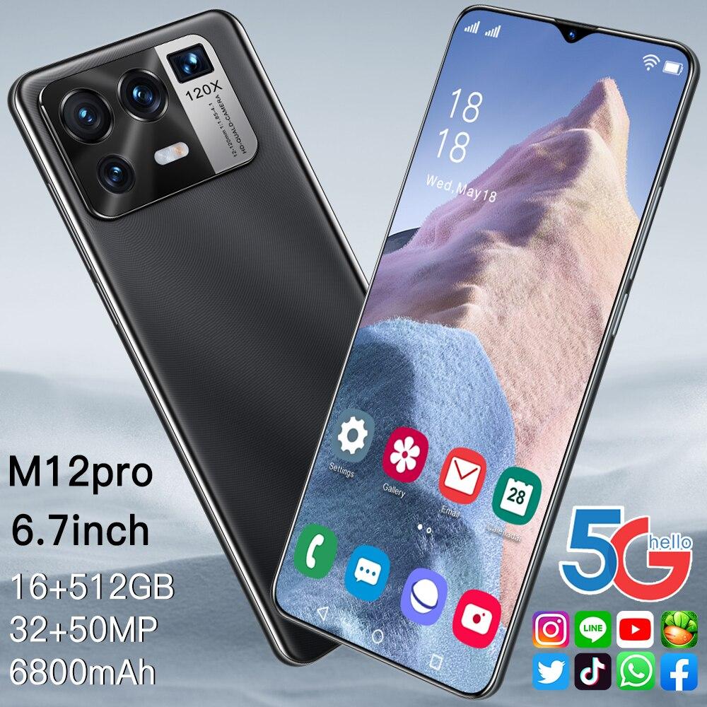 Смартфон M12 Pro, 6,7 дюйма, Android 10.0, 10 ядер, MTK 6889, разблокированный телефон, 16 ГБ + 512 Гб, две Sim-карты, 6800 мАч