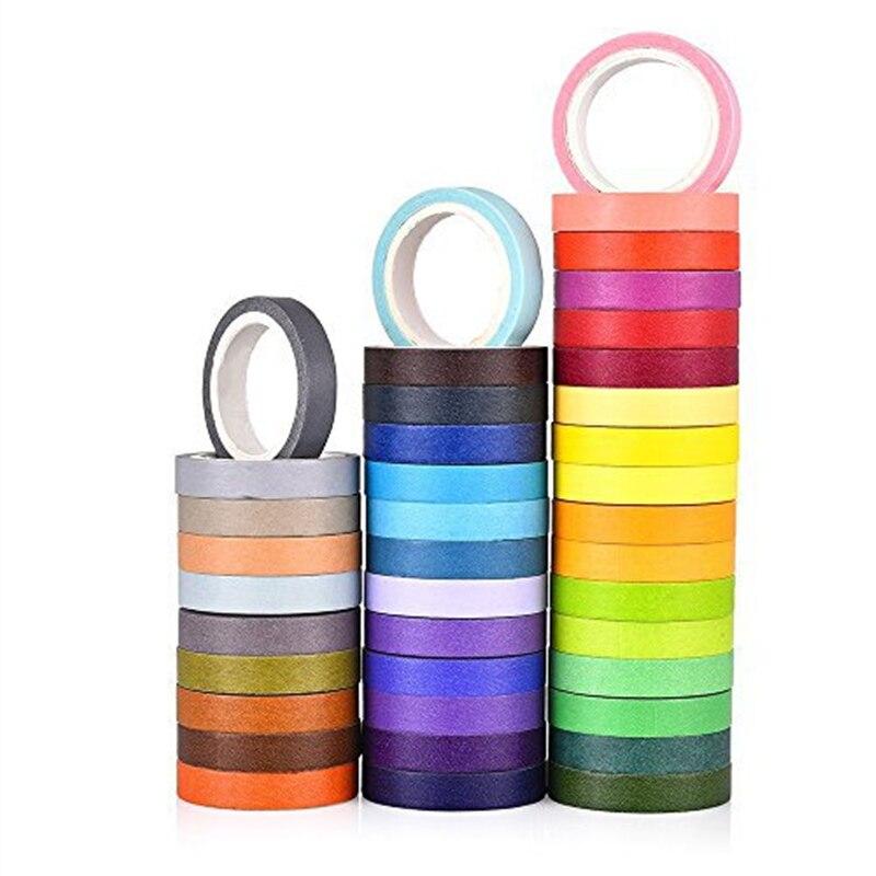 40/60 colorido washi fita scrapbooking 7.5mm 8mm 15mm fitas de máscara adesiva diário caderno decoração adesivos presente e6067
