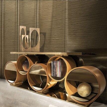 Sonsole-Mesa de mármol y metal con cuatro cajones, mueble moderno y creativo...