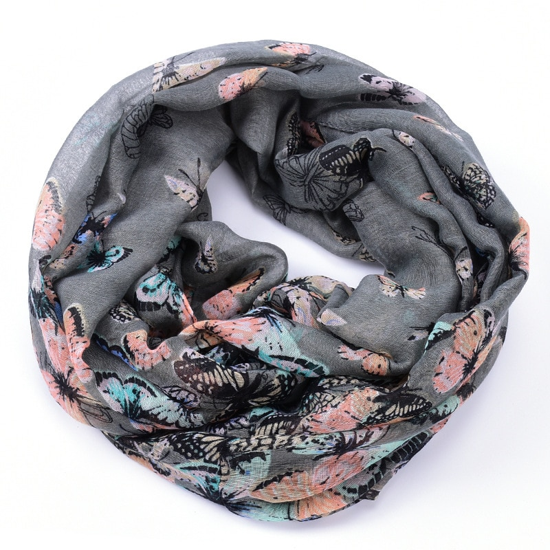 And Autumn Period And The Butterfly Print Voile Scarf Female Speed Sell Through Amazon Spring Hot Style Scarf Wholesale