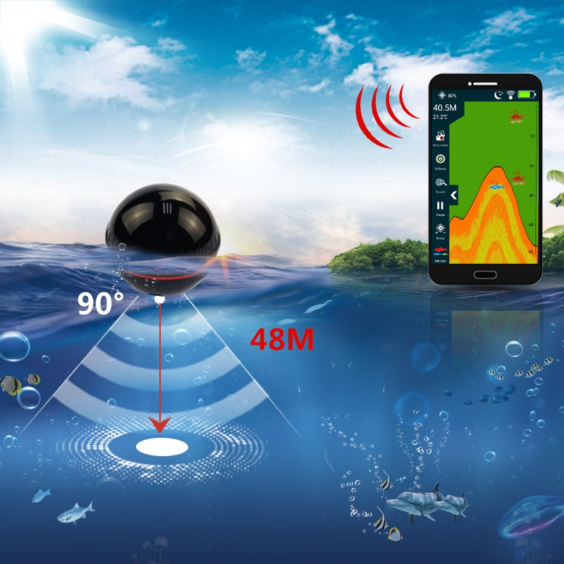 Erchang XA02 Fish Finder For Fihsing 48m/160ft  Wireless Depth Echo Sounder Sea Lake Portable Sonar In Russian Warehouse enlarge
