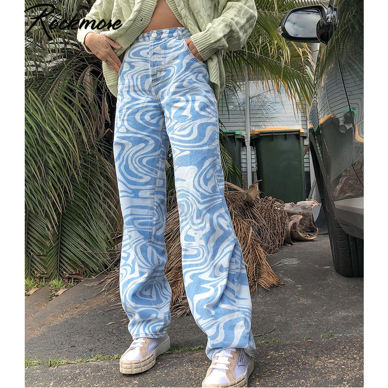 Rockmore Zebra Pattern High Waist Women'S Jeans 90s Streetwear Trousers Baggy Leg Pants Y2K Mom Boyf