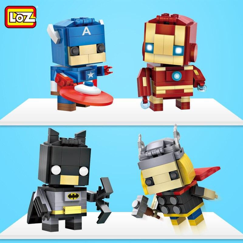 Loz super heroes mini ironmaned morcego spiderman figuras blocos de construção capitão américa tijolos headz brinquedos para coleção