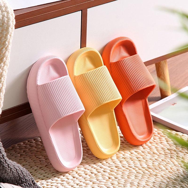 Bathroom Non-slip Slippers Fashion Thick Sole Soft EVA Indoor Slide Sandals Casual Beach Unisex Platform Men Women Home Shoes