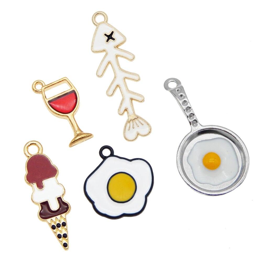 Julie wang 5 pçs bonito esmalte ovo pan encantos desenhos animados alimentos design pingentes diy accesssory para brincos colar fazendo