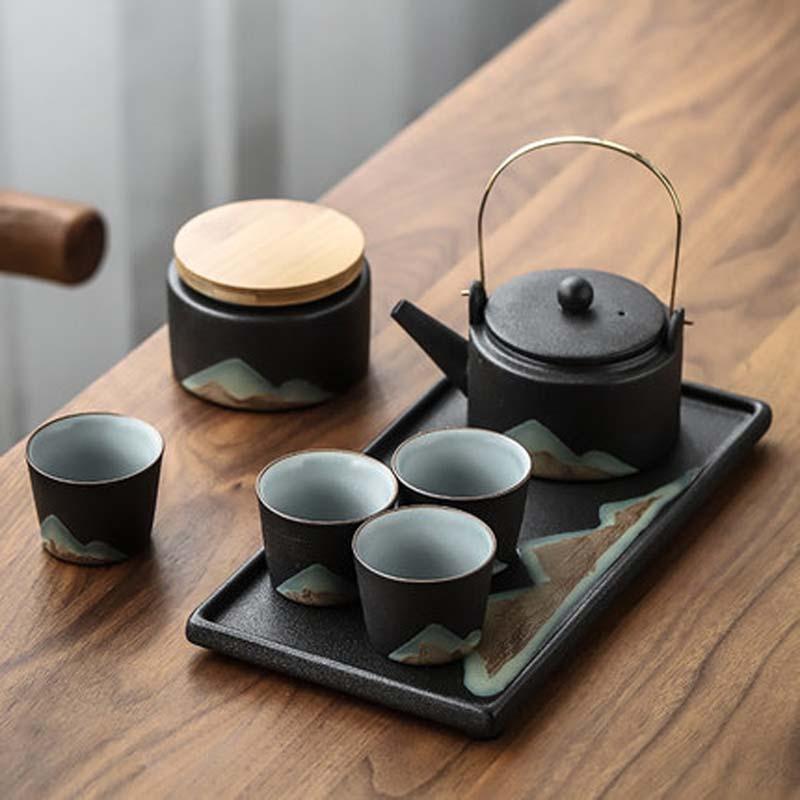 إبريق شاي من السيراميك مجموعة المنزلية مقبض وعاء الكونغفو طقم شاي فنجان شاي مكتب الجاف نقع مجموعة كاملة من النمط الياباني