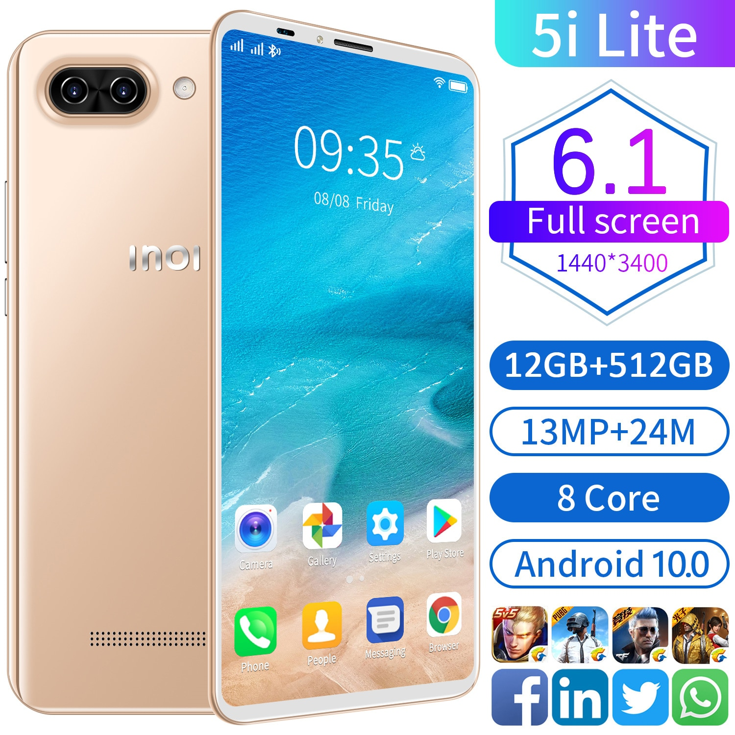 Global Version 5i Lite 6.1Inch 12G 512G Smartphone 13MP+24MP Android 10 6800mAh 8Core MTK6889 5G Dual SIM Network Mobile Phone