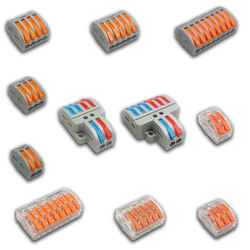 1/3/5/10 pces/saco 222 pinos-212-218 mini conectores de fio rápidos universal compacto conector de fiação push-in bloco de terminais 2-8p