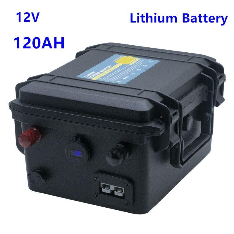 12 فولت بطارية ليثيوم 120AH 12 فولت بطارية ليثيوم pack120AH مع شاحن 10A ل محرّك القارب ، الطاقة الشمسية ، LED ، RV ، الخ