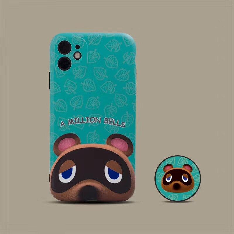 Funda de teléfono de silicona suave Tom Nook con diseño de Animal para apple iphone 7, 8 Plus, 11 Pro X, XS, XR MAX, funda con soporte plegable