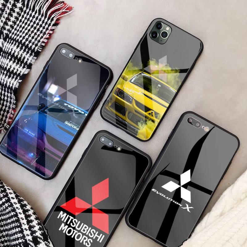 Funda de teléfono de lujo para Mitsubishi Motors, carcasa de cristal para...