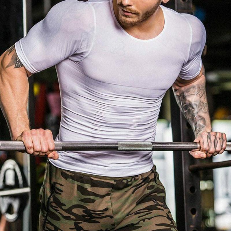 Camiseta de compresión popular para hombres, moldeador de cuerpo, adelgazante, musculosa elástica, Shapewear HV99