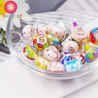 wholesale 10 pcs colorful resin round loose big hole beads charms fit women pandora bracelet bangle necklaces for jewelry making