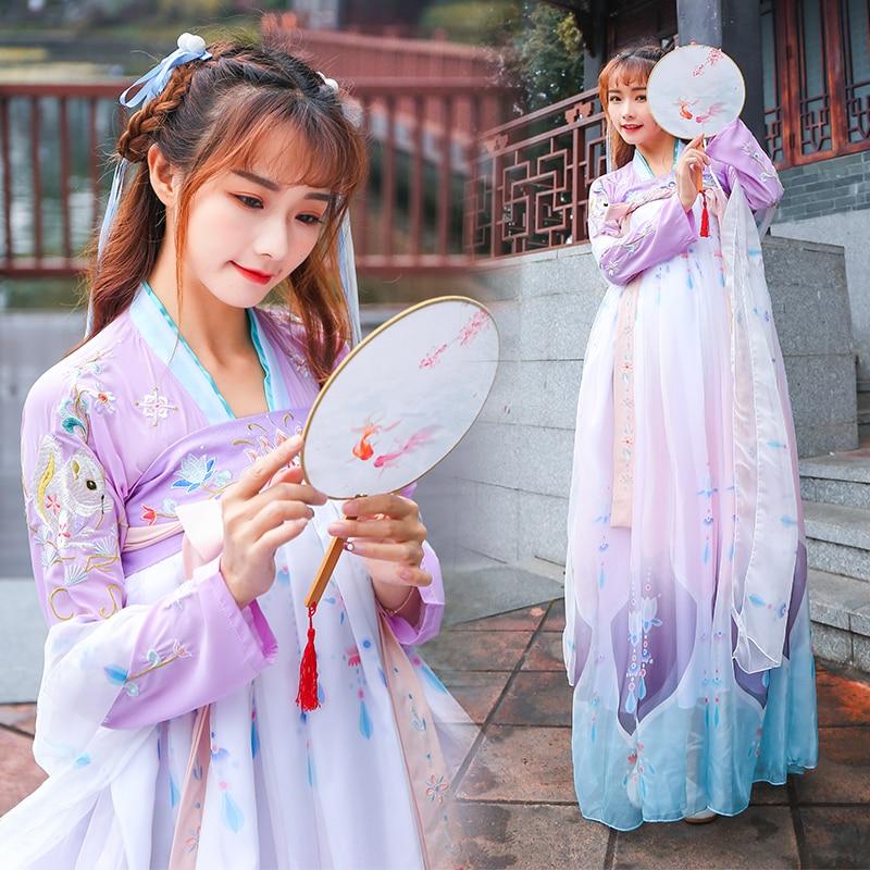 الحديث Hanfu هان سلالة زي القديمة اليومية Hanfu الأميرة فستان للكبار النمط الصيني الزي الجنية ملابس رقص أنيقة