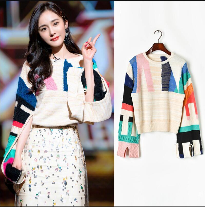 Women's autumn winter soft  sweater 2 color fashional super star Yang Mi same geometric pattern split cuff loose knit sweater enlarge