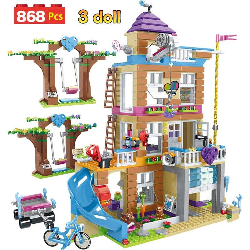 Bloques de construcción de 868 Uds., Casa de la amistad para niñas, bloques de apilamiento compatibles con niñas, amigos, juguetes para niños