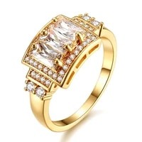 luxury fashion aaa zircon diamond rings for women 18k yellow gold color anillos mujer gemstones jewelry accessories gift party