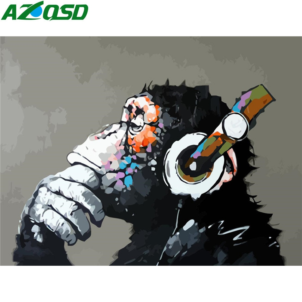 AZQSD DIY Paint By Number Monkey Acrylic Oil Painting Unique Gift Picture Numbers Orangutan Kits Home Decoration