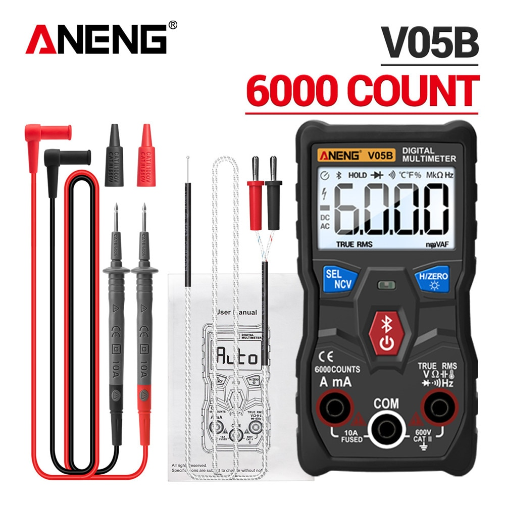 ANENG V05B البسيطة الرقمية 6000 التهم المهنية التناظرية المتعدد AC/DC التيارات الجهد اختبار صحيح RMS بلوتوث Multimetro