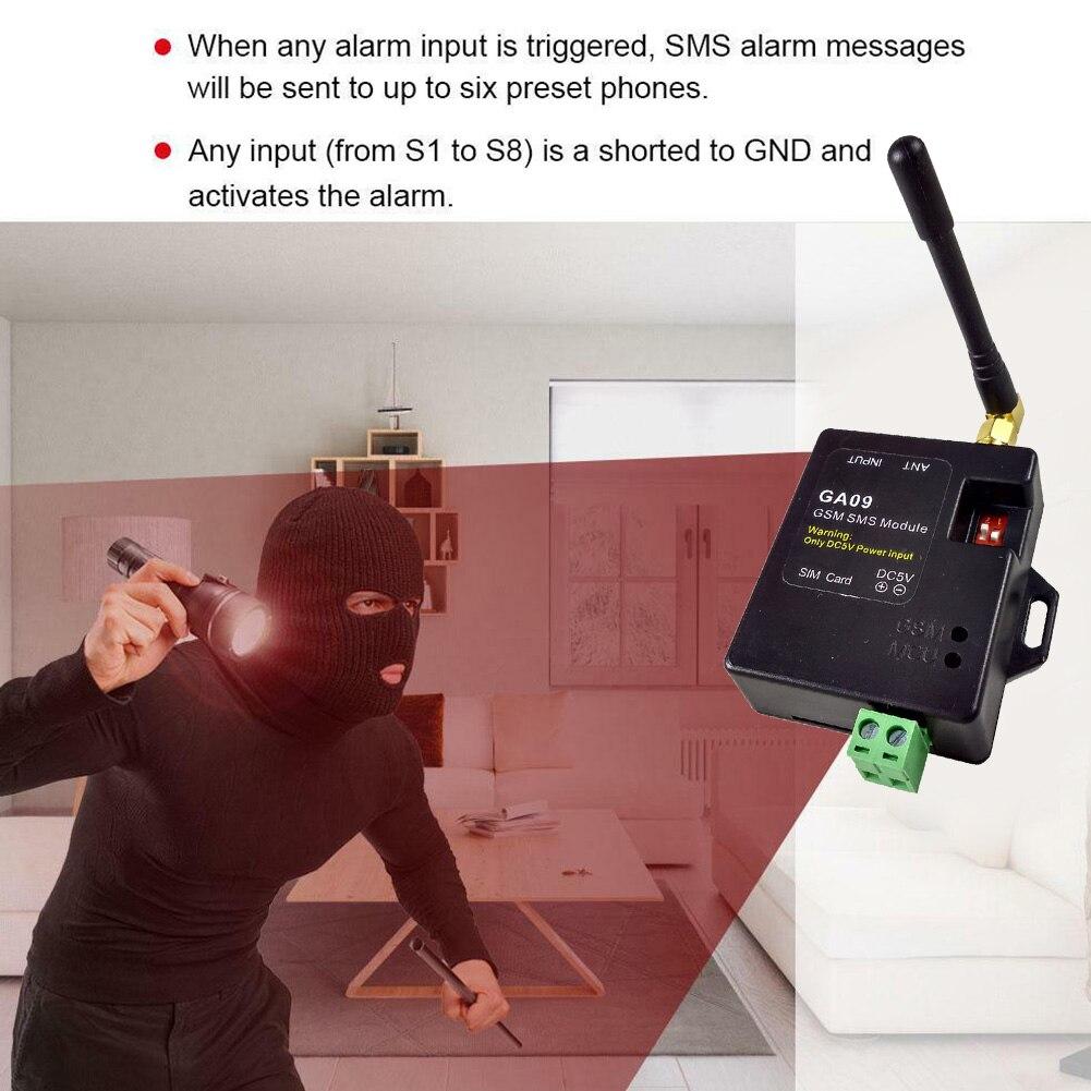 GA09 puerta SMS sensores de ventana universales GSM alarma inalámbrica Mini módulo APP Seguridad en el hogar 8 canales antena llamada remota