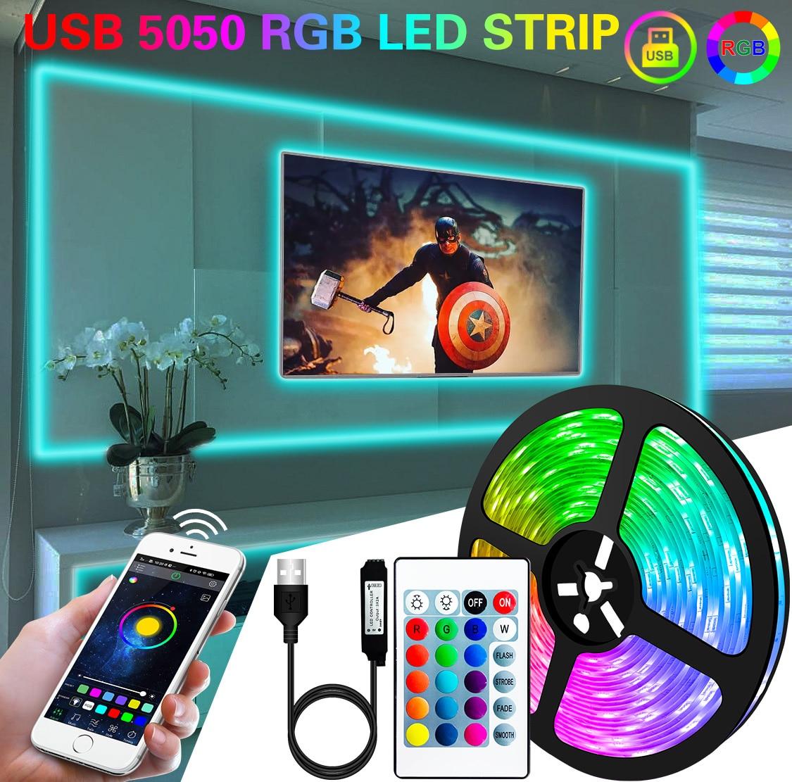 1M 2M 3M 5M 10M LED Strip Light Flexible Lamp USB Bluetooth Led Lighting 5050 RGB Tape Diode For TikTok Light TV BackLight Party