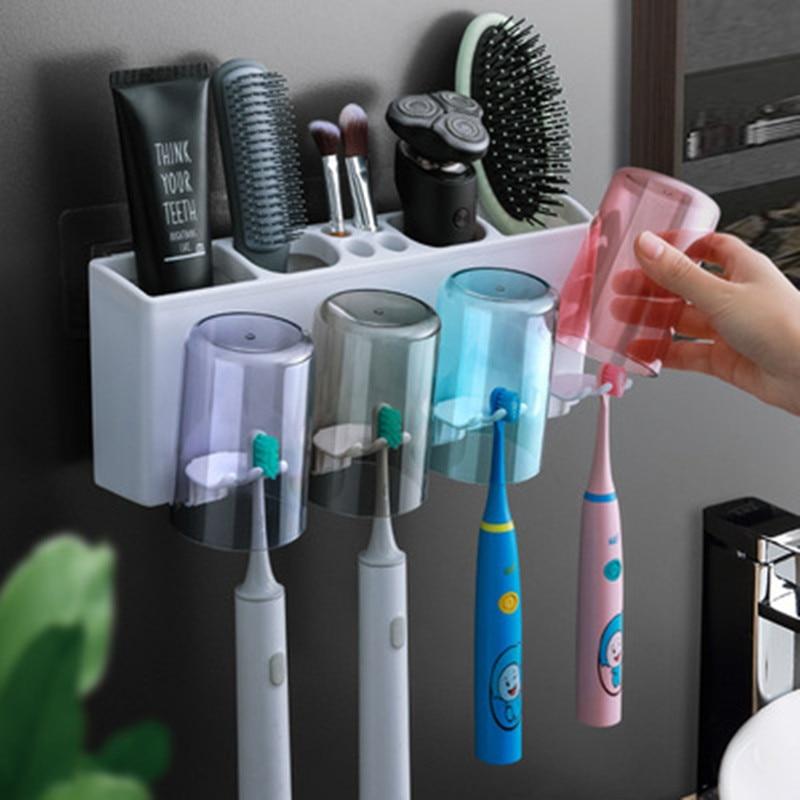 Soporte para cepillos de dientes y dispensador de pasta de dientes y...