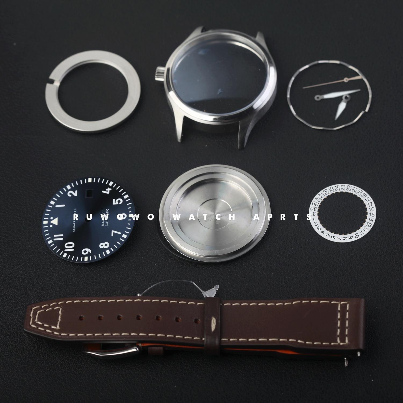 40mm case kit mark 18 pilot style blue dial stainsteel sapphire fit eta 2824 movement