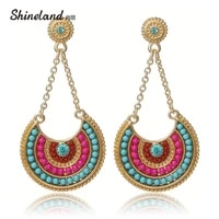 2021 hot ethnic jewelry bohemia multicolor resin beads long pendant vintage statement dangle earrings for women lady gifts