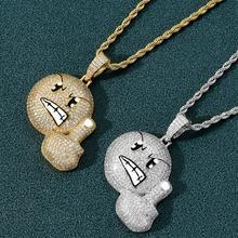 Nouveau glacé sur lexpression en colère Hip Hop mode pendentif collier de haute qualité Micro pavé cubique zircone bijoux pour cadeaux