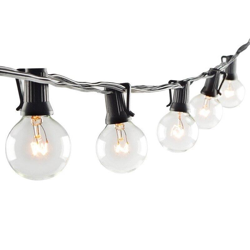 Прозрачная гирлянда G40 с лампочками, уличная освещение для террасы гирлянда с лампочками для украшения свадьбы, вечеринки, сада, 10 футов, 25 ф...
