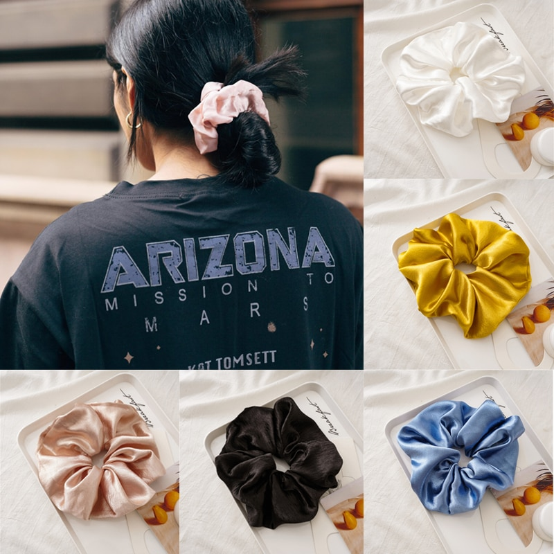 Ruoshui Woman Solid Hair Scrunchies Girls Elastic Hairband Hair Ties Accessories Rubber Band Ponytail Holders Ornament Hair Rope