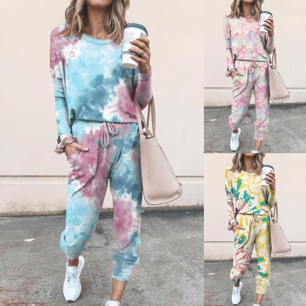 2Pcs Women Tie Dye Jogger Suit Long Sleeve Round Neck Pants Sleepwear Loungewear Women Sleep Wear Sleepwear Pajamas For Women