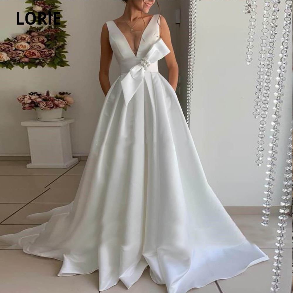 LORIE Simple Satin Wedding Dresses with Pockets Sleeveless V-neck Open Back Beach Bride Dress Detachable Bow Party Gown Elegant