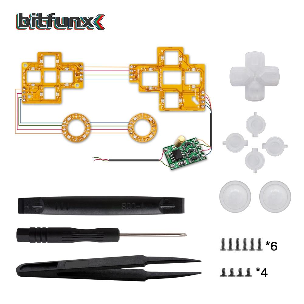 Tapas de Joystick Bitfunx, Kit de luz LED Modchip para controlador PS4 Playstation 4 DIY, palos de pulgar multicolores
