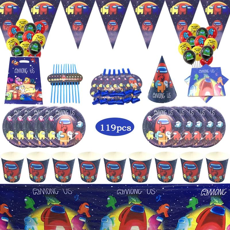 119 шт., одноразовая посуда для детского дня рождения