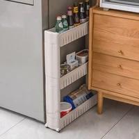Etagere de rangement intercalaire  poulie mobile  cuisine  toilette  etagere de rangement de salle de bains  support de finition de couture laterale de refrigerateur