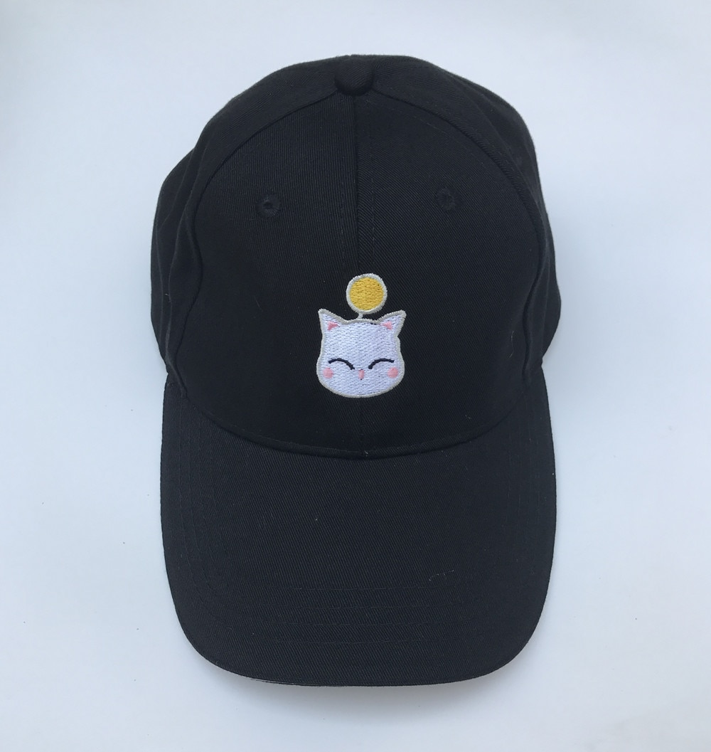 Gorra de béisbol negra con bordado de Cosplay FF14 de fantasía Final