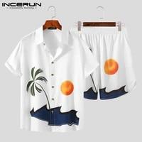 incerun printed men sets streetwear short sleeve lapel casual shirt beach shorts summer vacation men hawaiian suits 2 pieces 5xl