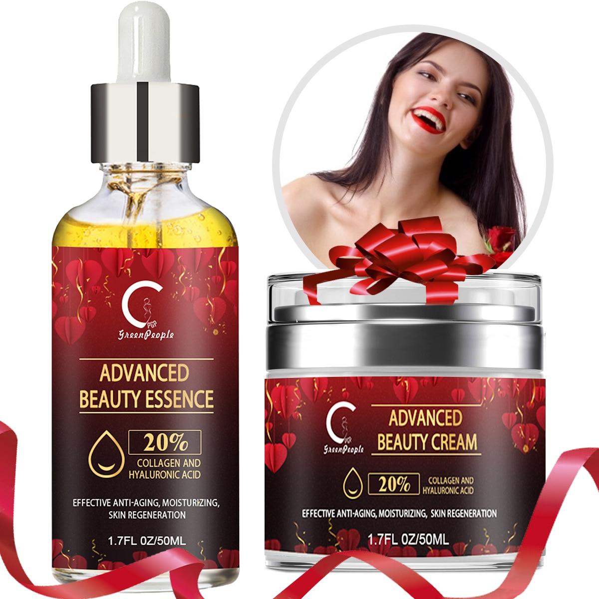 Face Serum Hyaluronic Acid Essence Valentine's Day Gift Anti-Aging Anti-Wrinkle Facial Moisturizing Cream Skin Care Product Set