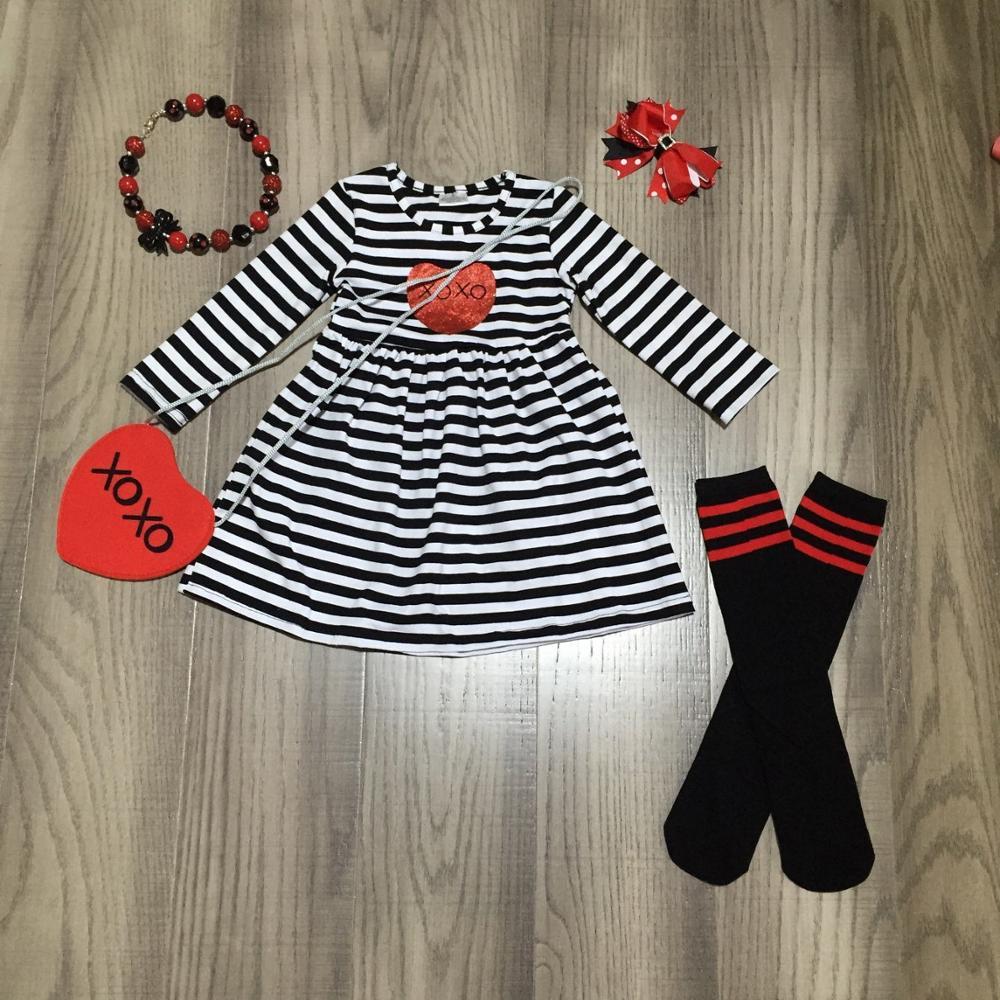 Día de San Valentín bebé niñas ropa de algodón primavera volantes amor corazón vestido hasta la rodilla con lazo collar calcetines y monedero