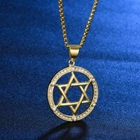 six pointed star round hollow pendant necklace mens and womens necklaces metal crystal inlaid pendant accessorie party jewelry
