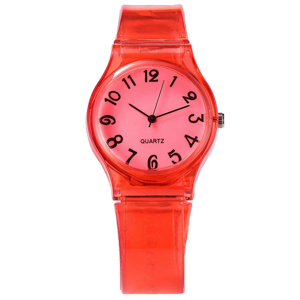 Enfants bonbons couleur grand nombre cadran rond enfants montres Silicone bande Quartz montres reloj mujer relog feminino zegarek da