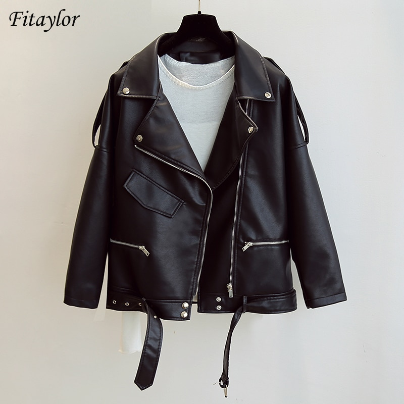 Fitaylor-سترة جلدية نسائية ناعمة لركوب الدراجات النارية ، معطف ، طية صدر السترة ، حزام بسحاب ، معاطف فضفاضة ، ملابس الشارع