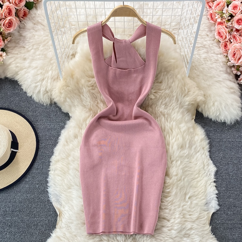 ALPHALMODA 2021 Square Collar Hollow Out Women Sexy Summer Dress Sleeveless Pullovers Slim Mini Knitting Dress